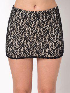 Lace Panel Bodycon Mini Skirt - Black M