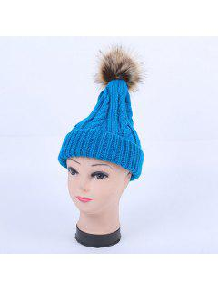 Winter Stripy Cable Knit Pom Hat - Lake Blue