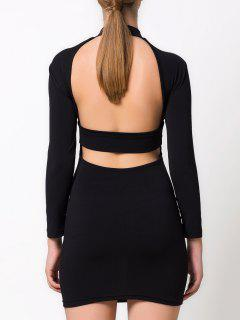 High Collar Hollow Out Bodycon Dress - Black M
