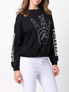 Streetwear Printed Sweatshirt - Black 2xl