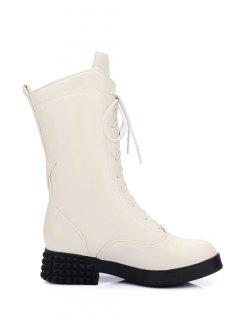 Chunky Heel Platform Tie Up Mid-Calf Boots - Glitter Creamy White 38
