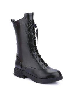 Chunky Heel Platform Tie Up Mid-Calf Boots - Black 38