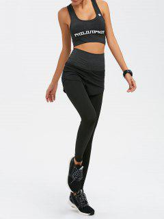 Graphic Print Bra And Bodycon Yoga Leggings - Gray L
