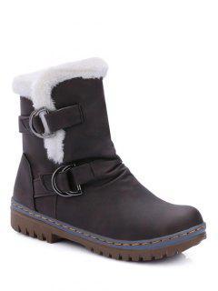 Wrinkled Metal Flat Heel Short Boots - Deep Brown 37