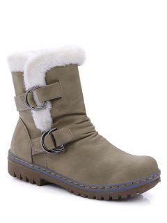 Wrinkled Metal Flat Heel Short Boots - Khaki 38