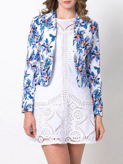 Open Front Floral Blazer - Blue Xs