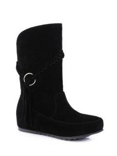 Tassels Weave Hidden Wedge Mid Calf Boots - Black 38
