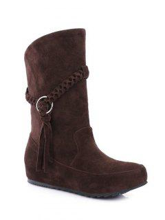 Tassels Weave Hidden Wedge Mid Calf Boots - Deep Brown 38