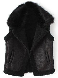 Detachable Fur Collar Suede Waistcost - Black M