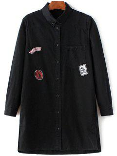 Letter Patch Long Sleeve Denim Shirt - Black S