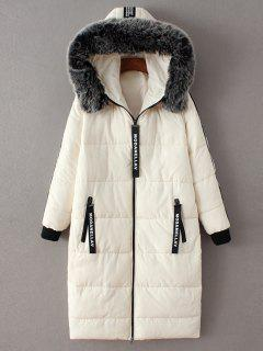 Hooded Number Patch Quilted Coat - White S