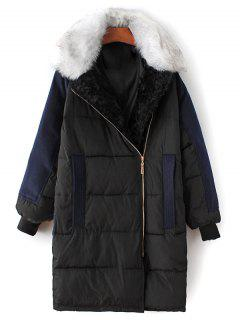 Wool Panel Fur Collar Quilted Coat - Black M