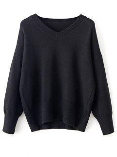V Neck Long Sleeve Pullover Knitwear - Black