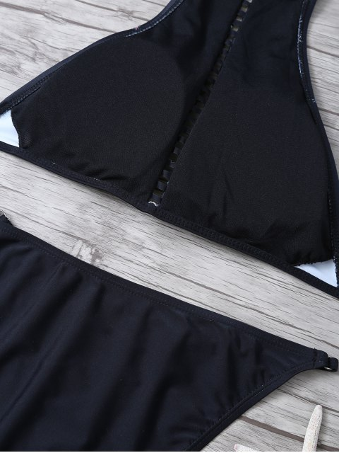 chic Floral Print Ladder Trim High Neck Bikini - BLACK L Mobile