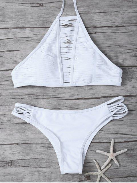 Ensemble de bikini rayé transparent col haut - Blanc S Mobile