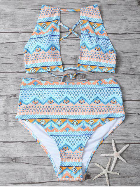 shops Cut Out High Neck Bikini Set - MULTICOLOR S Mobile