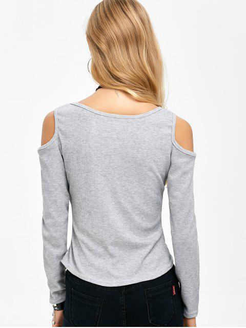 latest Cold Shoulder Zipper T-Shirt - GRAY L Mobile