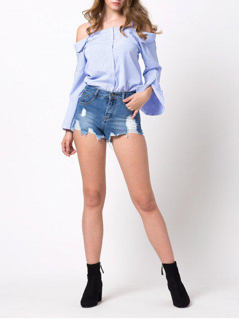 best Flare Sleeve Cold Shoulder Blouse - BLUE AND WHITE L Mobile