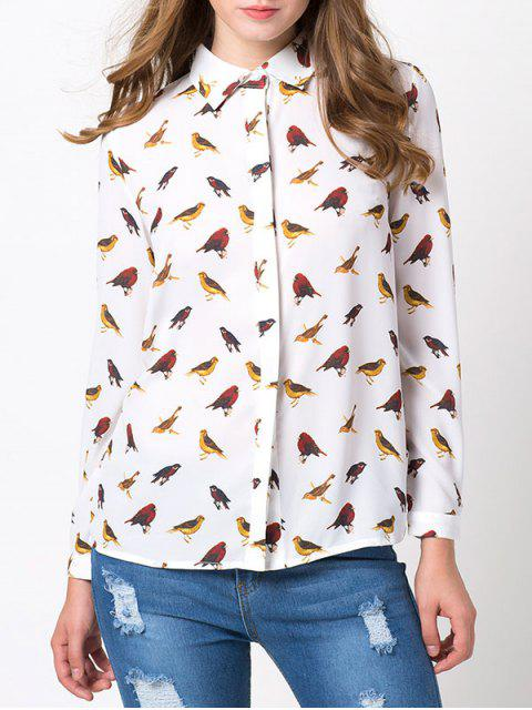 trendy Bird Print Chiffon Animal Print Shirt - WHITE M Mobile