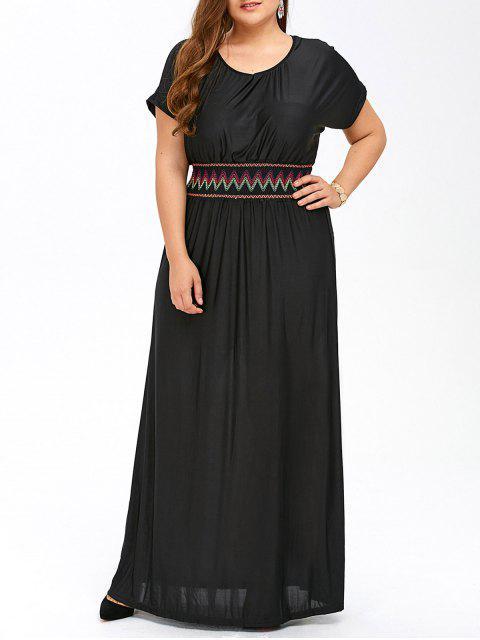 Vestido de tafetán tamaño maxi con mangas cortas - Negro XL Mobile
