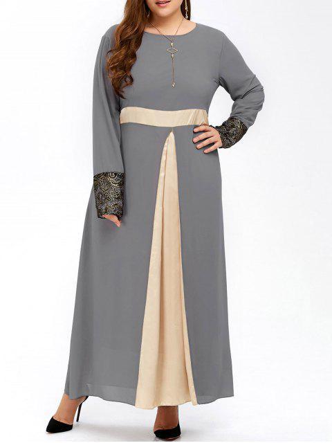 Tamaño más largo de color musulmán Bloque vestido de gasa Maxi - Gris 5XL Mobile
