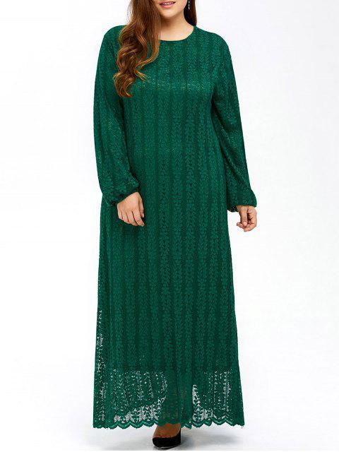Musulmanes de encaje más tamaño maxi vestido de manga larga - Verde L Mobile