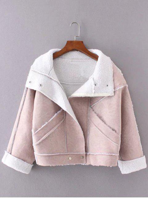 ladies Faux Suede Fleece Trim Cropped Winter Jacket - PINK M Mobile