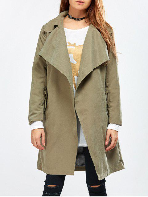 shop Drape Front Wrap Trench Coat - ARMY GREEN M Mobile