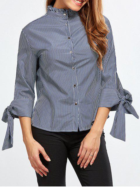 new Back Buttons Striped Blouse - BLUE AND WHITE S Mobile