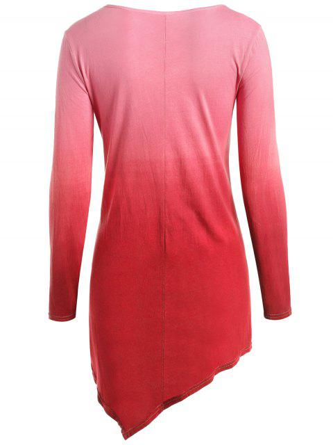 women Ombre V Neck Asymmetrical Tee - RED L Mobile