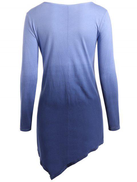 T-shirt ombré à ourlet mouchoir à col V - Bleu Violet 2XL Mobile