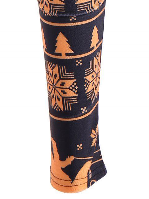 Snowflake Imprimer Skinny Leggings - Jaune et Noir XL Mobile