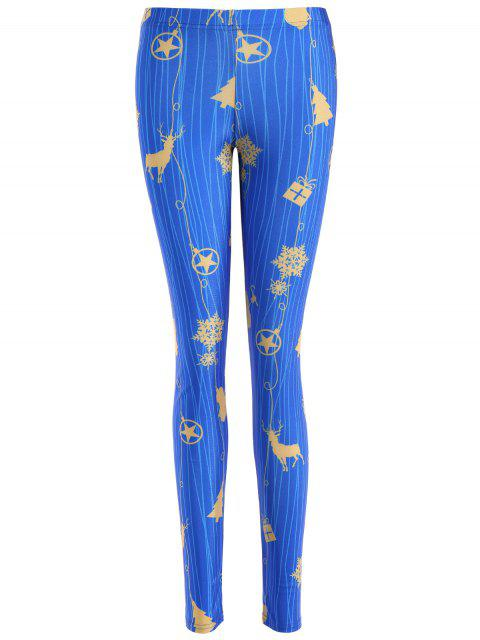 shops Skinny Christmas Reindeer Leggings - BLUE M Mobile