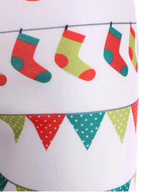 Legging amincissant imprimé vacances de Noël - Blanc L Mobile