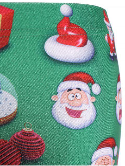 fancy Santa Claus Skinny Leggings - GREEN L Mobile