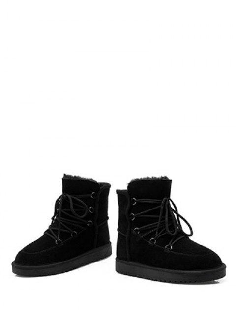 buy Suede Tie Up Tie Up Snow Boots - BLACK 39 Mobile