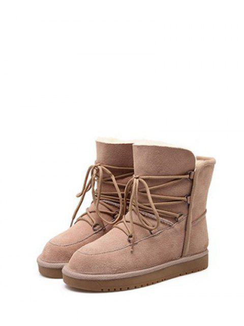 women's Suede Tie Up Tie Up Snow Boots - APRICOT 39 Mobile
