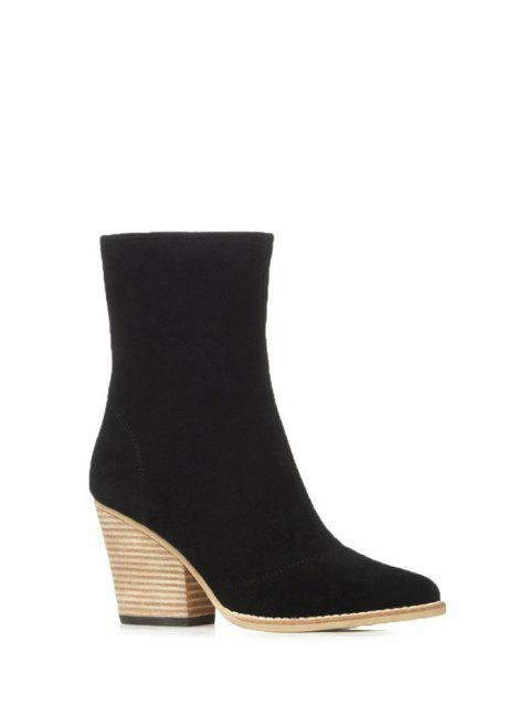 outfit Chunky Heel Pointed Toe Zip Short Boots - BLACK 37 Mobile