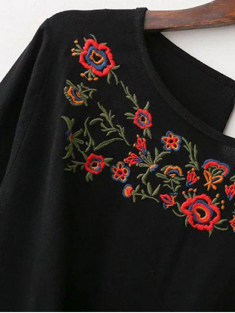 unique Embroidered Front Knot Blouse - BLACK S Mobile