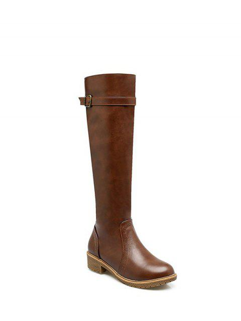 ladies Vintage Buckle Strap Knee High Boots - BROWN 38 Mobile