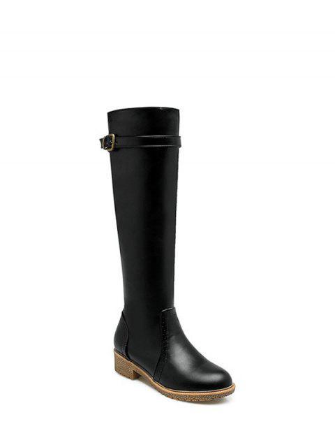 hot Vintage Buckle Strap Knee High Boots - BLACK 37 Mobile