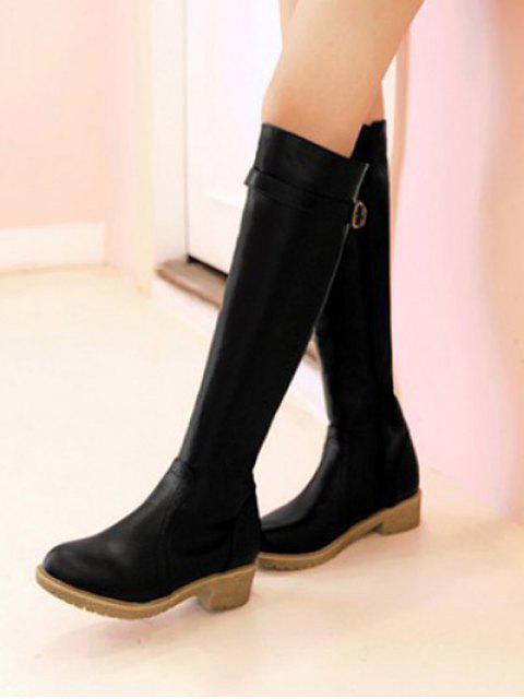 new Vintage Buckle Strap Knee High Boots - BLACK 39 Mobile