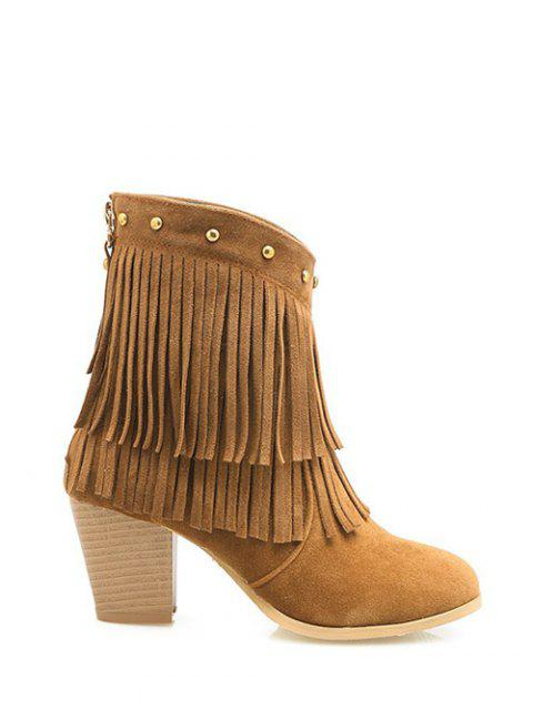 shops Chunky Heel Rivet Fringe Boots - BROWN 38 Mobile
