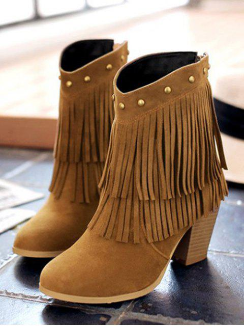 outfits Chunky Heel Rivet Fringe Boots - BROWN 39 Mobile