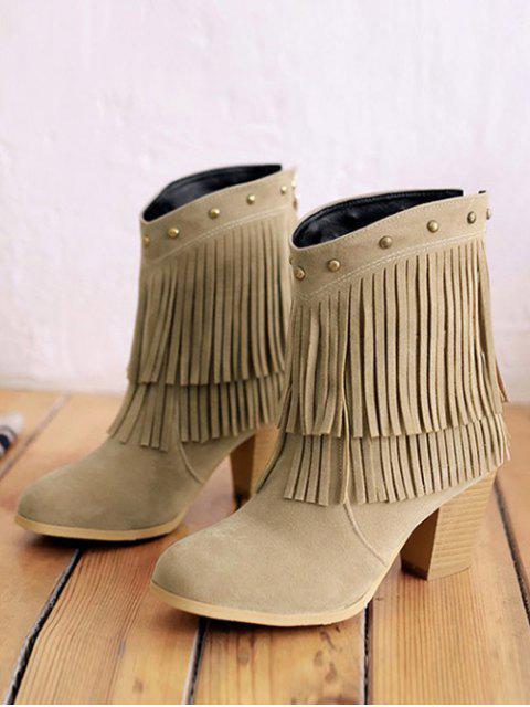 unique Chunky Heel Rivet Fringe Boots - LIGHT KHAKI 38 Mobile