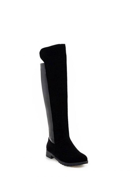 sale PU Leather Panel Knee High Boots -   Mobile