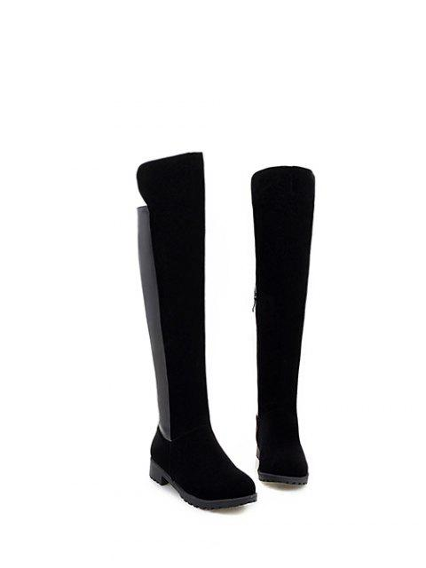 affordable PU Leather Panel Knee High Boots -   Mobile