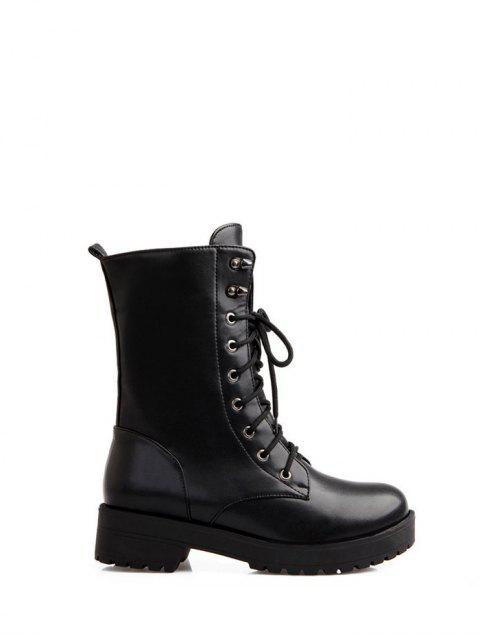 womens Chunky Heel Mid Calf Combat Boots -   Mobile