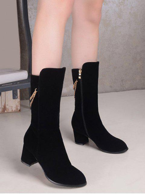 ladies Chunky Heel Metallic Chains Mid Calf Boots - BLACK 39 Mobile