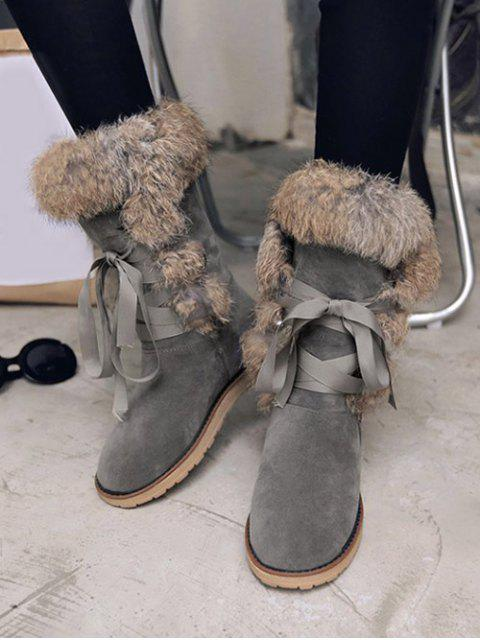 hot Ribbon Furry Snow Boots - GRAY 38 Mobile